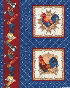 eQuilter Kaffe Fassett's Quilts in the Cotswolds Decoupage, Chicken Art, Chickens And Roosters, Paper Basket, Coq, Kitchen Art, Fabric Panels, Bleu Marine, Quilting Projects