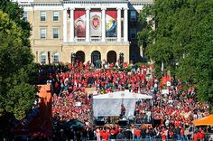 ESPN broadcast College GameDay on Bascom Hill before the Wisconsin-Nebraska football game on Oct. Bad choice: Wisconsin won big that night. Nebraska Football Game, University Of Wisconsin Football, College Game Days, Never Grow Up, Espn, Photo Library, Times Square, Oct 1, Photo And Video