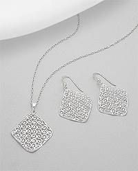 Sterling Silver Hestia Necklace and Earring by SesCapricesJewelry
