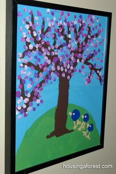 Spring Tree Art - easy kid painting. Love how they cteated the flowers.