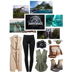 Jurassic World by rubytyra on Polyvore featuring Forever New, H&M, Proenza Schouler, Frye, Mudd, Eos, Dinosaurs, P & Lot, movie and jurassicworld