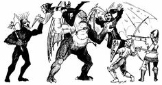The party encounters a mezzodaemon and nycadaemon for the first time. (David Sutherland from AD&D module D3: Vault of the Drow, TSR, 1978.)