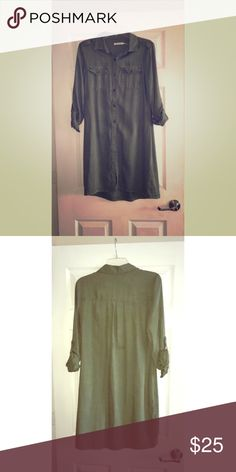 Kenneth Cole Reaction Shirt dress *NEVER WORN* Olive green Kenneth Cole Reaction button down shirt dress, quarter sleeves, excellent condition - never worn Kenneth Cole Dresses