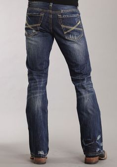 79ba2ddacdc Mens Stetson Blue 100% Cotton Destruction Dark Wash Bootcut Rocks Jeans Mens  Bootcut Jeans