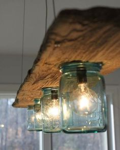 from driftwood and which preserving glasses lampshade .- aus Treibholz und welchen Konservierungsgläser Lampenschirm basteln from driftwood and which preserving glasses make lampshades -