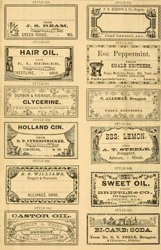 Free clip art for Potions, Tinctures, and Herbs | apothecary labels