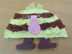 Handmade Grug 1. Cut out two feet and a nose from coloured paper. 2. Cut up small strips of brown and yellow crepe paper into separate containers. 3. Glue on cut up strips of crepe paper for the striped body onto half a paper plate. 4. Lastly, glue on your feet, nose and googly eyes. The children of my centre loved making this throughout the day as they have been really getting into our Grug collection of books lately. They even held onto them and played with them for the remainder of the…