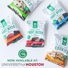 Listen up, Coogs! You can now find our Fruit Bites and cookies at convenience stores across campus. Perfect for last-minute late night study sessions, way too early morning classes with a gallon of coffee and everything in between. We're proud to sold in whose house?!