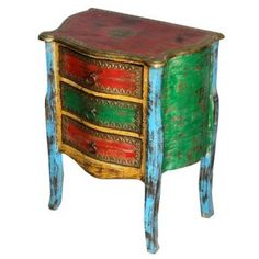 Distressed paint finish in jewel colours
