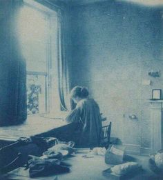 Jane Morris pre raphaelite Muse: May Morris by Unknown photographer cyanotype, early 1890s - working on an embroidery