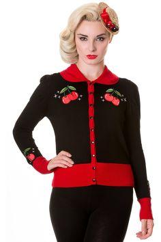 Black Red Vintage Cherry Cardigan