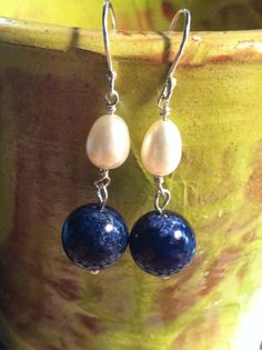Lapis and Freshwater Pearl Earrings