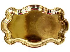 """Vintage Scrolling Brass Tray with Engraved """"H"""" Monogram"""