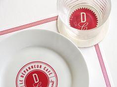 plates & glasses |Le Dépanneur Café by Fanny Roy, via Behance