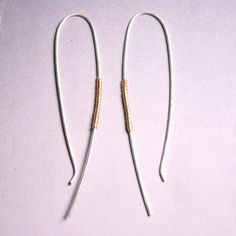 Simple jewelry  Silver and Gold Arc Earrings by ValerieTyler, $24.00