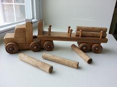 Wooden Truck Toy Log Trailer Dump Toddler Preschool Childrens Waldorf Creative…
