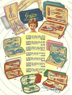 1950s catalog page featuring various manicure sets. Kind of pricey for the 50's!