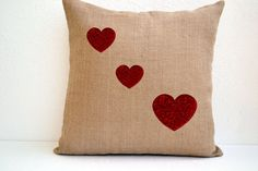 Pillow cover in burlap with red heart Decorative by AmoreBeaute, $24.00    DIY with burlap and velvet or paint your heart on!
