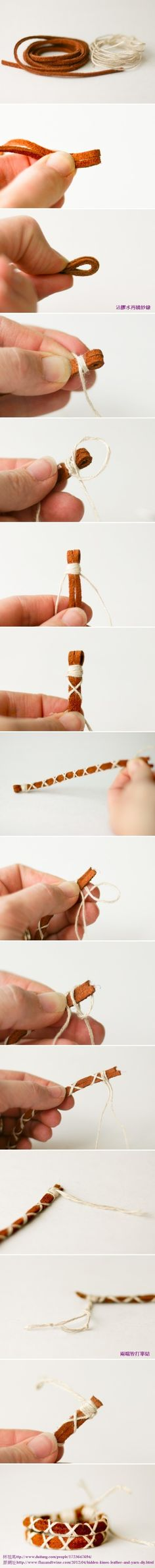 DIY Leather and Yarn Bracelet // got to make this next time I buy leather strips. :)