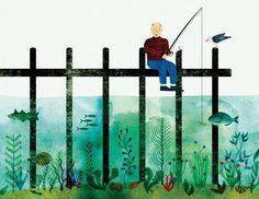 Image of Max - Gone Fishing - Illustration by Marc Martin Art Journal Inspiration, Art Inspo, Fish Illustration, Illustrations, Marc Martin, Deep Water, Gone Fishing, Graphic Design Art, Sea Creatures