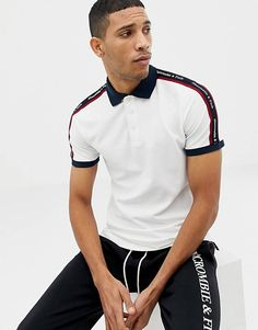 Buy Abercrombie & Fitch taped logo contrast collar pique polo slim fit in white at ASOS. Get the latest trends with ASOS now. Polo Shirt Style, Polo Shirt Outfits, Polo Shirt Design, Polo Design, Mens Polo T Shirts, Pique Polo Shirt, Polo Outfit, Long Sleeve Polo, Long Sleeve Shirts