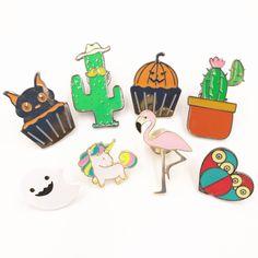 X147 Cartoons Halloween-geist Kürbis Tasse Kuchen Katze Flamingo Vogel Eule Herz Einhorn Kaktus Metall Brosche Pins Großhandel
