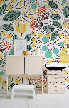 Parental Wallpaper Floral Wallpaper Removable Wallpaper Spring Wall Decal Watercolor Mural Cute Flora t Nursery Wallpaper, Home Wallpaper, Flower Wallpaper, Spring Wallpaper, Colorful Wallpaper, Pattern Wallpaper, Wallpaper Designs, Kawaii Wallpaper, Trendy Wallpaper
