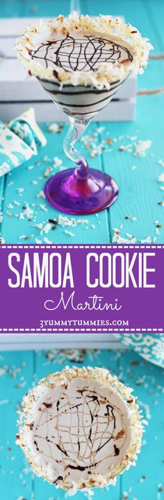 No need to wait for your Girl Scout cookie delivery with this Samoa Cookie Martini...chocolate, coconut and caramel with a roasted coconut rim.  You have to try this one!