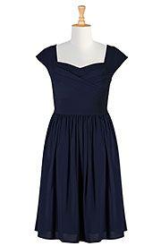 Pleated surplice stretch crepe dress
