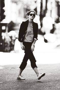 Emma Watson | blazer, striped top, cropped pants & oxfords