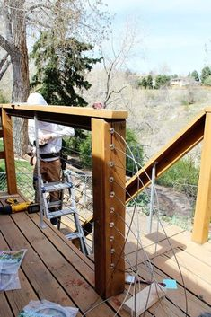 The full guide for how to install DIY cable rail in just one weekend. The easy… The full guide for how to install DIY cable rail in just one weekend. The easy way to give your old deck a modern look on a budget! Cable Railing, Deck Railings, Stair Railing, Handrails Outdoor, Horizontal Deck Railing, Deck Railing Design, Patio Stairs, Budget Patio, Deck Railing Ideas On A Budget