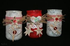 Senfglasrecycling oder wie man rustikale Windlichter bastelt - Krumbach - myheimat.de Christmas Jars, Christmas Crafts, Christmas Decorations, Holiday Decor, Recycling, Advent, Mason Jars, Orange, Tin Cans