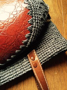 leather bottom crochet bag