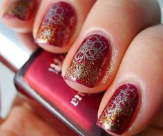 The Nail Buff: Silver Snowflakes over Red and Gold