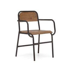Castleberry Antiqued Wood Tubular Steel Arm Chair | Metal Restaurant Chairs – MetalRestaurantChairs.com