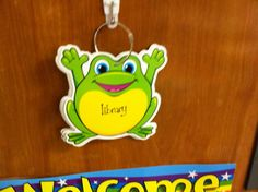This hangs on the door to my classroom. It has every place we could possibly go on the frog pages.(bathroom, library, lunch etc.) My caboose flips this as we leave the classroom to let others know where we are at all times.  Taken from lessonplandiva