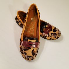Sam Edelman Flora Calf Hair Leather Leopard Print Womens Loafers Size 6.5M  #SamEdelman #Loafers #Casual