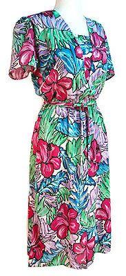 Blooming-Tropical-Flower-Print-Vintage-80s-Dress-w-Fabric-Belt-Sz-M-Hey-Viv