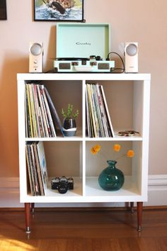 Best IKEA Hacks and DIY Hack Ideas for Furniture Projects and Home Decor from IKEA - DIY Vinyl Record Shelf - Creative IKEA Hack Tutorials for DIY Platform Bed, Desk, Vanity, Dresser, Coffee Table, Storage and Kitchen, Bedroom and Bathroom Decor http://diyjoy.com/best-ikea-hacks