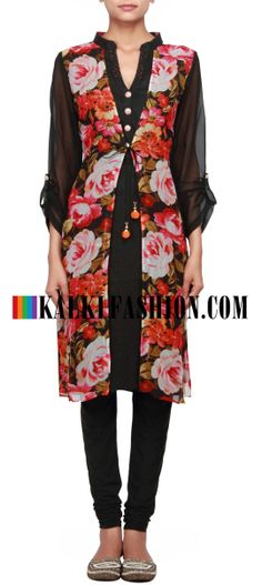 Buy Online from the link below. We ship worldwide (Free Shipping over US$100)  http://www.kalkifashion.com/black-kurti-featuring-in-digital-print-only-on-kalki.html