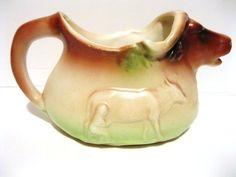 Czech Pottery Water Buffalo Cow Creamer Lady Milks Water Buffalo