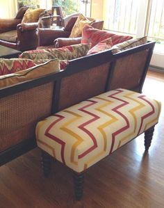 My fabulous interior designer, Kimberly Biehl Schmidt (kbsid.com), had this bench made with some cute grosgrain fabric to match the pillows on the adjacent cane sofa. But the best thing about it is that it seats two extra people perfectly for a party and is lightweight enough to move around.