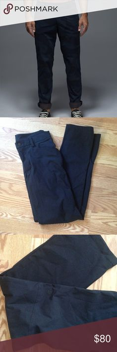 """Lululemon Mens Pants Gentleman, these lululemon pants are so mysterious. The details don't exactly match the ABC pants or the Commission pant but they're SO similar! Amazing condition (like new). And also.. They don't have an inside tag. But the measurements are: 16"""" across / waist to crotch is about 13"""" / they are 42.5"""" long / inseam is 33.5"""". Please ask any questions! I have two listings given to me and both are almost exactly ABC pants. Includes secret pocket on back pocket. lululemon…"""