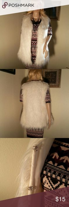Faux Fur Best Very soft faux fur vest.  Interior is polyester lined and best has hook eye closures. Size medium NWT. Rue 21 Jackets & Coats Vests