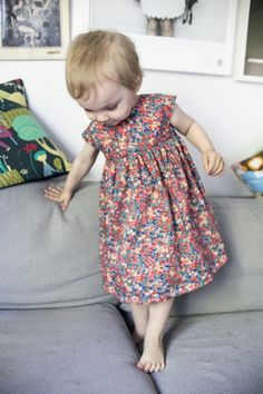 Love this dress! Easy pattern to follow for a beginner like me. My kid refuse to even try it, but I think she will like it when the summer comes along. Made it in size 2T. Liberty fabric, always so nice!