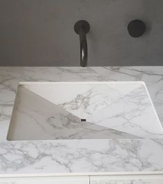 It's all in the Detail. Arabescato Porcelain Slab sink cut out. Natural Stone Bathroom, Natural Stones, Dream Bathrooms, Stone Tiles, Porcelain Tile, Marble, Sink, Detail, Bathroom Ideas