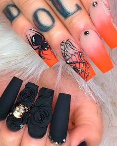 So amazing Ombre Orange Spiderweb & Black Press On Nails Halloween Nail Designs, Halloween Nail Art, Orange Nails, White Nails, Get Nails, Hair And Nails, Gorgeous Nails, Pretty Nails, Black Press