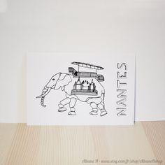 Carte postale Éléphant de Nantes à colorier Elephant Nantes, Bullet Journal, Inspiration, Etsy, Home Decor, Instagram, Stone, Biblical Inspiration, Decoration Home