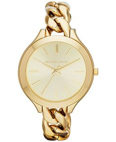 Michael Kors Watch, Women's Slim Runway Gold-Tone Stainless Steel Bracelet 42mm MK3222 - Watches - Jewelry & Watches - Macy's