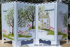 Stampin' Up Screen Divider Greeting Card made from the beautiful Sheltering Tree & Holiday Home stamp sets. Handmade by: Quinn for sale on ebay at user name decamerax3